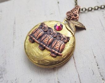 Owl Necklace ~ Owl Locket ~ Brass ~ Round Locket ~ Owl Jewelry ~ Woodland Style ~ by WakesTheDawn