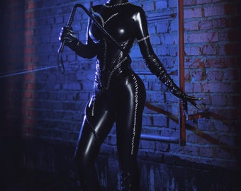 Cat-woman from Batman returns latex cosplay costume