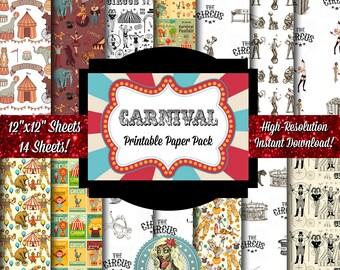 Circus Digital Paper, Carnival Digital Paper, Circus Clipart, Circus Printables, Carnival Printables, Carnival Party, Circus Party