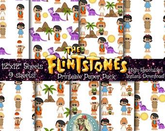 Flinstones Digital Paper Pack, Flinstones Party, Flinstones Paper, Digital Paper, Pebbles Flinstone, Fruity Pebbles, Bam Bam, Stone Age