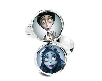 Victor van Dort and Emily Double Ring Corpse Bride Adjustable ring Corpse Bride Jewelry Fanboy Fangirl