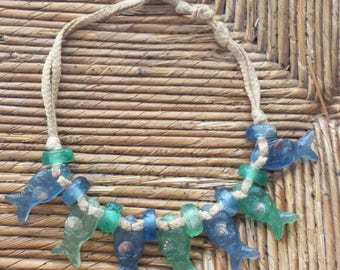 Short string with small fish resin necklace boho