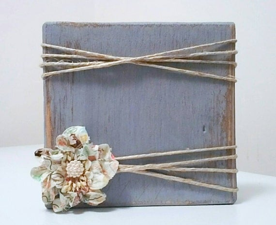 Wood Block Photo Frame Repurposed Wood Photo By