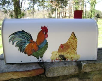 Handpainted Mailbox Rooster with Hen and Chicks