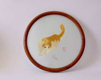 Chinese silk embroidery, cat embroidery, Chinese art, Suzhou silk embroidery art, Su embroidery, Antique Chinese embroidery, Grashopper
