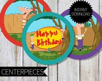 Phineas and Ferb Birthday Party PRINTABLE 4 inches Circles Centerpieces- Instant Download | Disney Channel | Agent P| Cake Topper