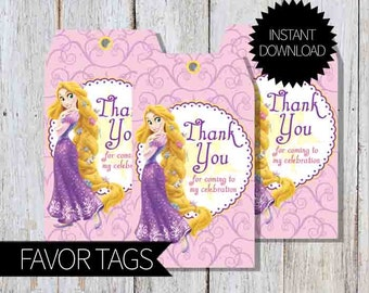 Rapunzel Tangled Birthday Party PRINTABLE Favor Tags- Instant Download | Princess Rapunzel | Disney Tangled