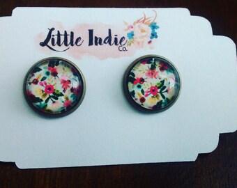 Spring Floral Print Earrings
