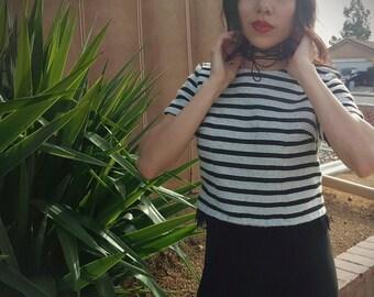 Stripe fringe crop top