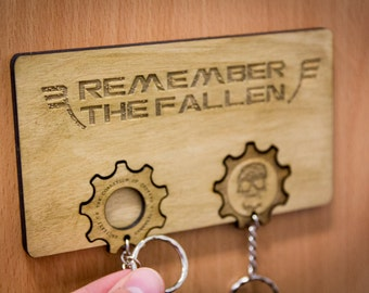 "Gears of War Inspired ""Remember the Fallen"" Lasercut & engraved keyring and wall mount"