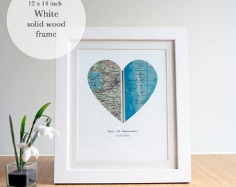 Heart Map Art, Map Heart, Heart Map Print,Personalized Map Framed, Personalized Map Gift,New Home Map Gift, White Wood Framed,14 x 12 inches