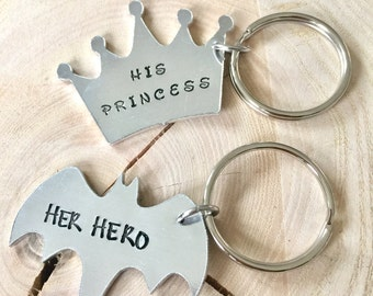 His and Hers Keyrings, Valentine's Day, Valentine Present, Valentine Gift, For Him, For Her, Her Hero, His Princess, His and Hers, Keyring