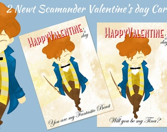 Newt Scamander Happy Valentine's day Cards - digital download 2 jpegs high resolution - Fantastic Beasts and where to find them