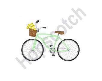 Bicycle Flower Basket - machine embroidery design