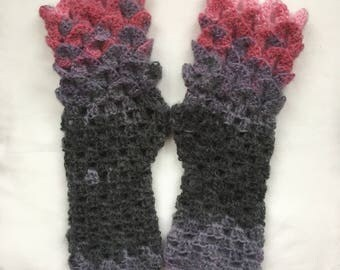Dragon Scale Gloves   Arm Warmers Stormy Sunrise
