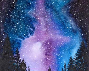 Starry Night Watercolor Art Print Trees Forest Northern Lights Stars Sky Purple Blue Wall Art Home Decor