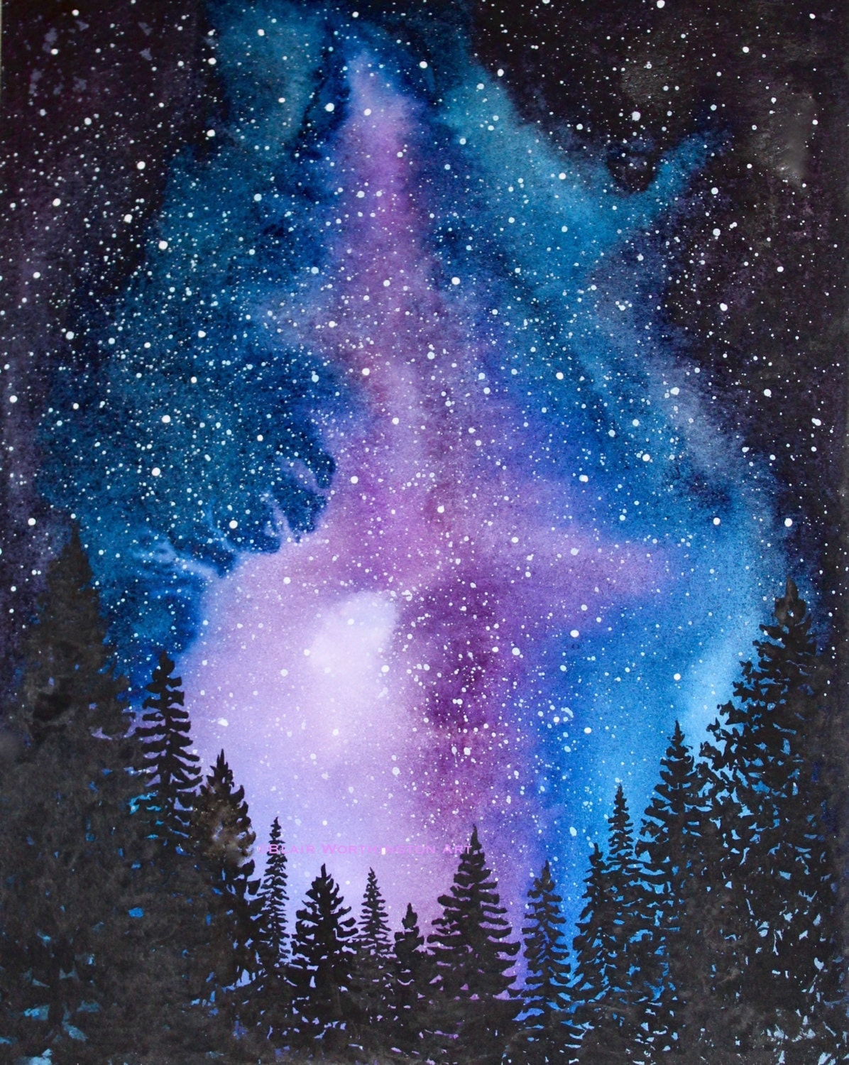 starry night watercolor art print trees forest northern lights