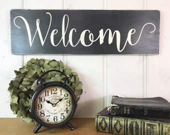 "Wood Welcome sign | rustic wood sign | rustic wall decor | French country decor | entry way sign | 24"" x 7.25"""