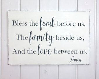 """Bless the food before us   rustic wood sign   kitchen wall decor   dining room sign   prayer sign   28"""" x 18.5"""""""