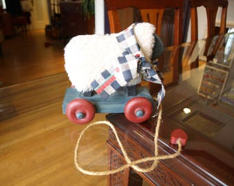 Country Decor  Stuffed Sheep Pull Toy on Wooden Platform with Wheels