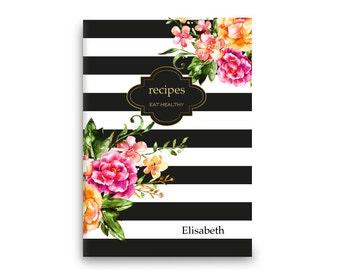 Recipe book • Personalized recipes • Floral stripes - stitch spine -Custom Stationery Journal-Black White Gold Monogram notebook