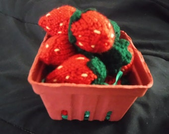Hand knit strawberries in a berry basket, adorable.