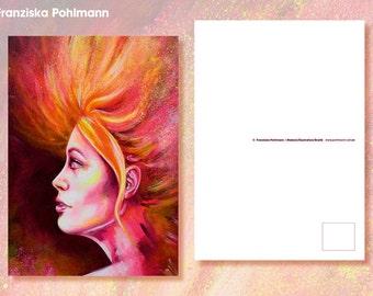 """Postcard """"Fire woman"""""""