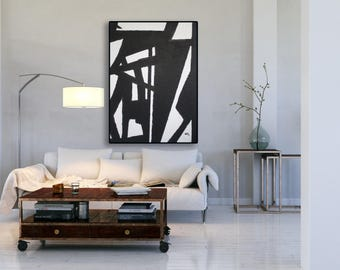 XL Black and White Painting / Modern Art / Contemporary Art / Large Art / XL Modern Abstract Art / Black and White Art