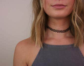 Black Tattoo Choker, Tattoo Choker, Black Choker, 90s Black Choker, 90s Tattoo Choker, 90s Choker, Black Tattoo Necklace, Tattoo Necklace
