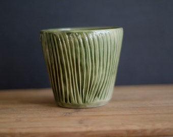 Green Cup, Hand Carved Planter, Succulent Planter, Ceramic Fruit Bowl, Soup Bowl, Noodle Bowl, Carved Bowl, Gray Bowl, Handmade Bowl