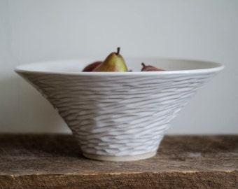 White Hand Carved Bowl, Fruit Bowl, Handmade Bowl, Ceramic Bowl, Wheel Thrown Bowl, Unique Bowl, White Bowl, Mixing Bowl, Serving Bowl