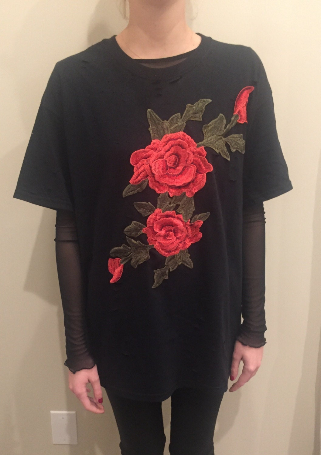 Lf inspired embroidered rose patch t shirt