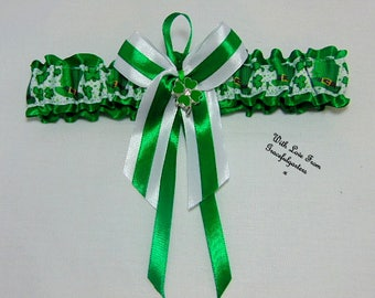 St patricks day irish clover leaf Bridal Wedding Garter. Irish. Satin/print