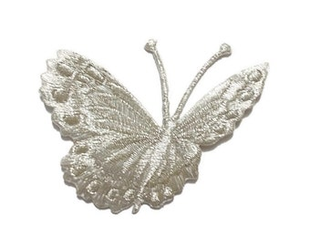 iron-on/sew on Metallic Glittered Silver Flying Butterfly appliques, embroidered patch, 7 x 6 cm., fabric decorations, home decor (M-235)