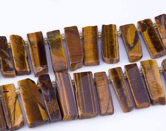 Tiger Eye Slab Slide Gemstone Beads, Semi-Precious Stones, Top Drilled, Pendants, Natural, Beading Supplies, Priced per Strand, TIG01