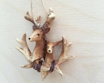 Miniature faux taxidermy for dollhouse . dollhouse christmas decorations . cabin antler decor. over fireplace mantle decoration deer head