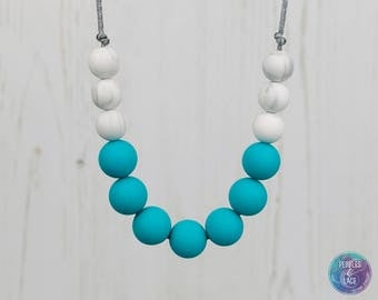 Breastfeeding Fiddle Necklace, Silicone Teething Necklace, Nursing Necklace,  Teething Jewellery, New Mum Gift, Baby Shower Gift, Turquoise