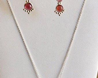 Garnet Earrings and Necklace Set (pieces sold separately)