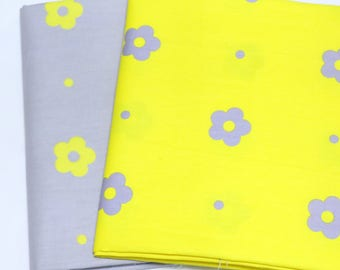 yellow flowers prints, thicken and high density, twill cotton fabric