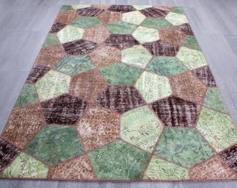 Turkish Patchwork Kilim ,Rug ,Carpet ,Anatolian Patchwork -wool rug-Handmade,Green,Brown,multis,200x300=6.00 m2,7x10 ft