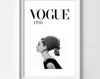 Poster poster vogue cover 1950 by Audrey Hepburn, feminine and original poster for home.