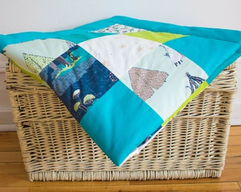 Large baby blanket, Hand-crafted blanket, Colorful, Patchwork blanket, Personalized Blanket, Play mat, Baby Shower Gift, green, blue
