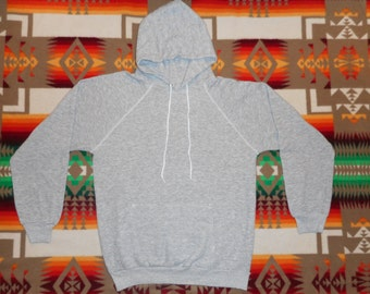 80s Heather Gray Hooded Pullover SweatShirt Size medium --Life Is Too Short To Drink Cheap Wine--