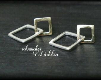 925 Silver geometric studs 'squares'