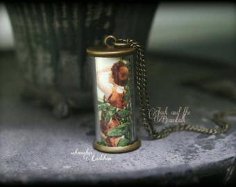 """Antique bronze on FairyTale of """"Jack and the Beanstalk"""" glass cylinder fairy necklace"""