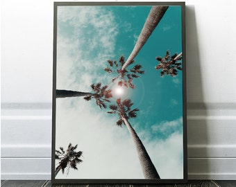 Palm Tree Photography, Sun Flare Print, Downloadable Palm Tree, Printable Tropical Photo, Palm Trees Poster, Palm Prints, Tropical Tree, Art