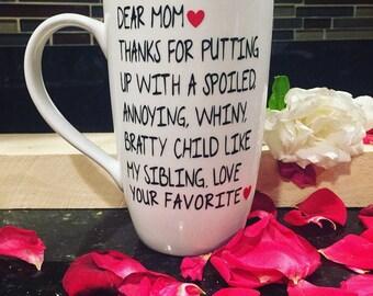 Dear Mom 16 oz tall latte coffee mug //  16oz tall latte mug