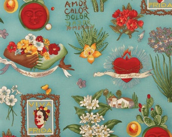 Frida Fabric   Frida Kahlo   Alexander Henry   Folklorico   Mexican   Floral   Sacred Heart   Flaming Hearts   Cactus   Turquoise   Blue