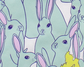 Large Rabbit Fabric | Alexander Henry | Hipster Hare | Cute Bunnies | Carrots | Large Print | Animal Fabric | Bunny Rabbit Material
