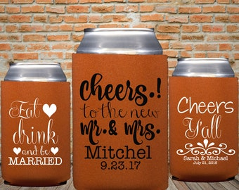 Brunt Orange Wedding Can Coolers, Rustic Wedding Favors, Fall Wedding, Orange Party Favors, Cheers To The Mr. and Mrs., Eat Drink Be Married